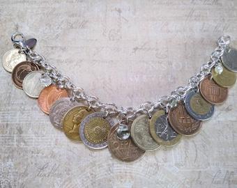 Coin Jewelry, Vintage Coin Bracelet, Coin Necklace, Gold EURO Coin Bracelet, Old Coin Bracelet, Genuine & Original Coin Bracelet, Coin Purse