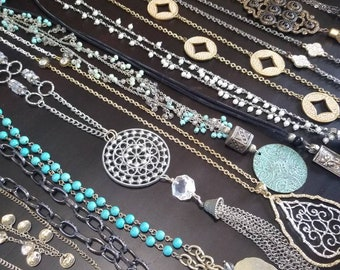 Bohemian Vibes, Bohemian Statement Necklaces, Bold & Beautiful, One Of A Kind, Handcrafted, Gems, Glass, Crystals, Pearls, Reclaimed Jewelry