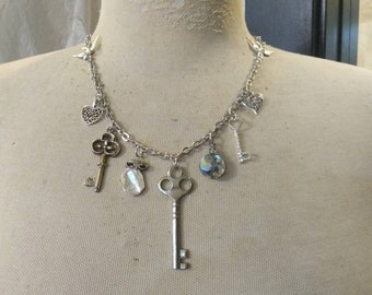Key To My Heart Charm Necklace or Bracelet, Vintage Charm Necklace / Bracelet, Key Charms, Keishi Pearl, Heart Charms, Bird Charms, AB Prism