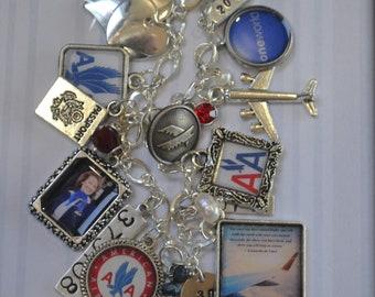 Flight Attendant Gifts, Airline Gift, Airline Retirement Gift, Airline Memorabilia, Flight Quote - Leonardo da Vinci, Charm Bracelet