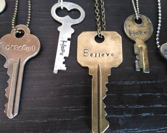 Keys, Authentic Vintage Key Necklace, Custom Hand Stamped Personalized Jewelry, Encouraging Gift, Personalized Gifts, Giving Key Necklace,