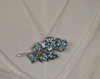 Floral Pin, Floral Brooch, Vintage Floral, Baby Blue Crystals, Floral Bouquet, Blue Flower, 2 in 1, Brooch or Necklace, Dual Pin / Necklace