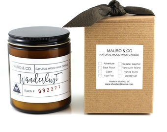 Mauroandco Lavender Clary Sage Wood wick soy candle, Natural soy wax candle, Scented Candle, Candle Victoria, BC Vancouver Island Canada