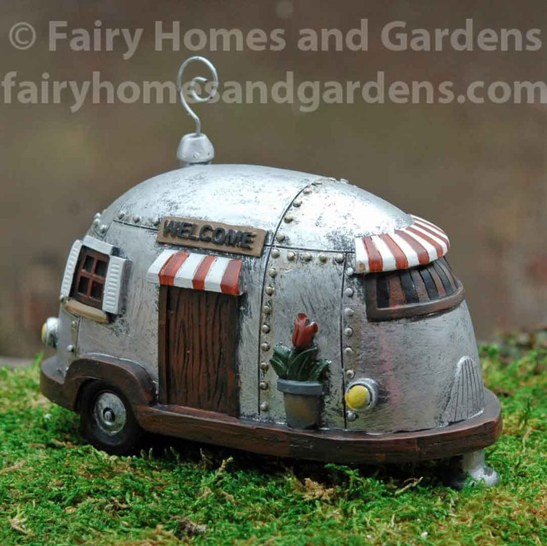 Miniature Camper - Fairy Travel Trailer - Airstream Camper - Fairy Garden  Camper - Fairy Garden Supply - Fairy Garden Accessories - Whimsy