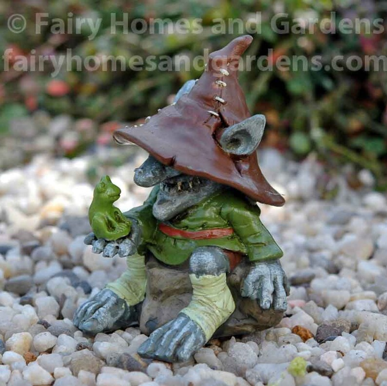 Miniature Dollhouse FAIRY GARDEN Merle Troll with Frog Accessories