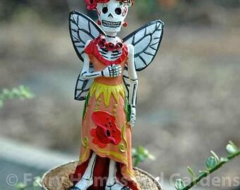 Day of the Dead Poppy Fairy - Dia de los Muertos - Poppy - Miniature Skeleton Fairy - Halloween - La Catrina - Day of the Dead