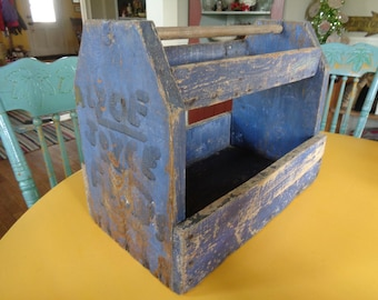 Primitive Wooden Caddy, Painted Wooden Tote