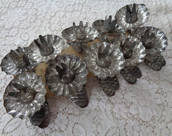 Vintage Pressed Tin Candle Clips, Tree Branch Candle Clips
