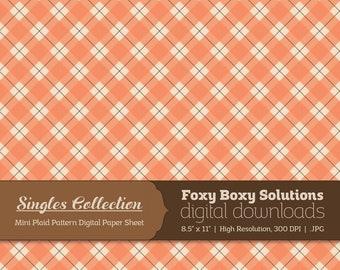 Instant Download Orange Plaid Printable Digital Paper for Scrapbooking - Digital Download Supply - Rustic Shabby Chic Digital Background