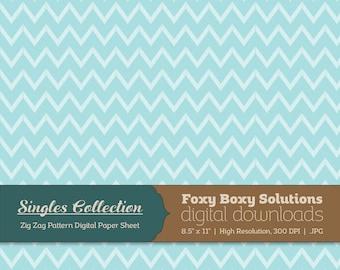 Blue Zig Zag Printable Digital Paper - Instant Download Supply for Scrapbooking & Crafting - Single Sheet Paper Printables