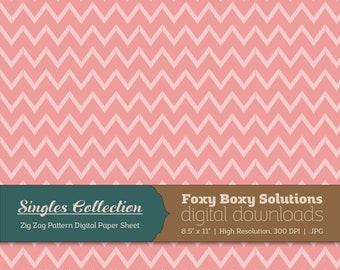 Pink Zig Zag Printable Digital Paper - Instant Download Supply for Scrapbooking & Crafting - Single Sheet Paper Printables