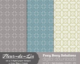 Fleur-de-Lis Pattern Digital Paper Pack: set of 3 digital papers, Printable Paper for Scrapbooking/Card Making, Instant Download
