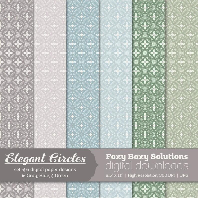 Elegant Circles: Dotted Line Circle Patterns Digital Papers image 0