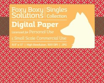 Circle Pattern on Kraft Digital Paper - Single Sheet in Red - Printable Scrapbooking Paper