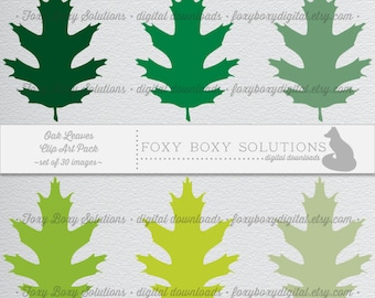 Leaf Clipart Digital Download set of 30 Digital Scrapbooking Images - Instant Download of Oak Leaves Clipart - Spring Clipart - Fall Clipart