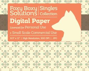Pastel Floral Diamond Digital Paper - Single Sheet in Pastel Blue & Orange on a Cream Background - Printable Scrapbooking Paper