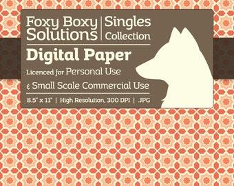 Moroccan Pattern Digital Paper - Single Sheet in Orange and Cream - Printable Scrapbooking Paper