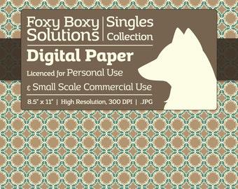 Moroccan Pattern Digital Paper - Single Sheet in Light Brown and Teal - Printable Scrapbooking Paper
