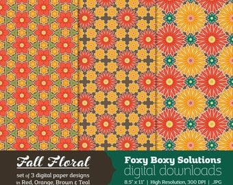 Digital Paper Fall Flower Pattern - Instant Download Printable Paper Craft Supply for Scrapbooking - Digital Download Autumn Printables