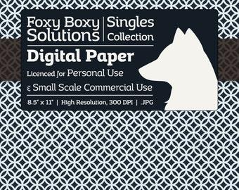 Moroccan Circle Pattern Digital Paper - Single Sheet in Dark Blue & White - Printable Scrapbooking Paper