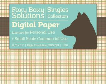 Plaid Digital Paper - Single Sheet in Green - Printable Scrapbooking Paper