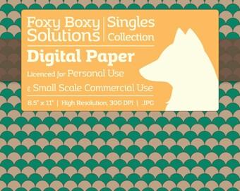 Scale Pattern on Kraft Digital Paper - Single Sheet in Teal - Printable Scrapbooking Paper