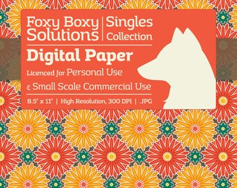Fall Floral Burst Digital Paper - Single Sheet in Red, Yellow, Teal, & Brown - Printable Scrapbooking Paper