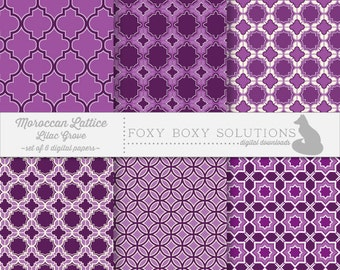 Digital Download Purple Geometric Moroccan Patterns - Instant Download Digital Paper - Craft Supply for Scrapbooking - Printable Paper