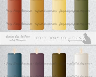 Digital Download Candle Illustration Clipart - Instant Download of 16 Printable Pillar Candles for Scrapbooking - Personal & Commercial Use