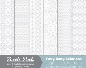 Digital Download Gray Facets Geometric Lines - Instant Download Digital Paper - Craft Supply for Scrapbooking & Crafting - Printable Paper