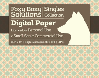 Moroccan Pattern Digital Paper - Single Sheet in Light Orange and Teal - Printable Scrapbooking Paper