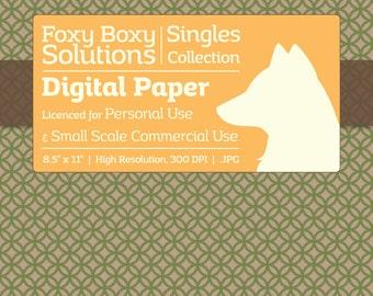 Circle Pattern on Kraft Digital Paper - Single Sheet in Green - Printable Scrapbooking Paper