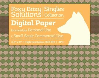 Scale Pattern on Kraft Digital Paper - Single Sheet in Green - Printable Scrapbooking Paper