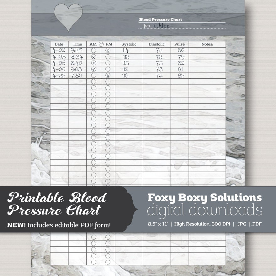 Printable Blood Pressure Chart With Editable Pdf Form Etsy