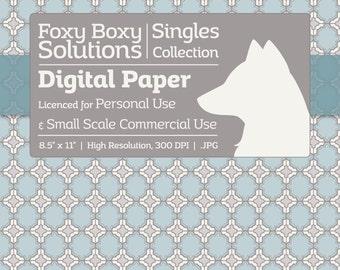 Fancy Moroccan Pattern Digital Paper - Single Sheet in Gray, Blue, & White - Printable Scrapbooking Paper