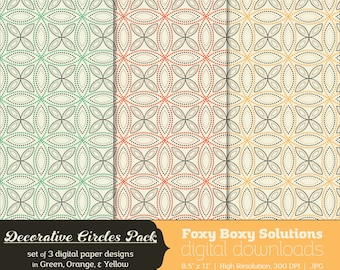 Decorative Circles Digital Paper Pack - set of 3 printable digital papers in green, orange, and yellow