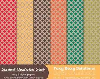 Barbed Quatrefoil Digital Paper Pack: set of 6 digital papers in red, yellow, brown, orange, teal, and green  Instant Download