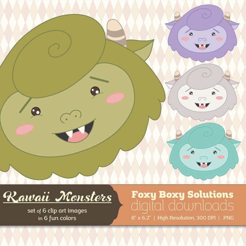 Kawaii Monsters Clip Art Pack: Set of 6 Colorful Cute Monsters image 0