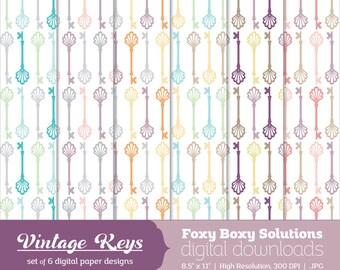 Digital Download Vintage Skeleton Keys Paper - Instant Download Digital Paper - Craft Supply for Scrapbooking & Crafting - Printable Paper