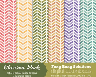 Color Chevron Digital Paper Pack: Set of 6 Digital Papers in Two Tone Colors, Pink, Blue, Purple, Yellow, Green, and Orange