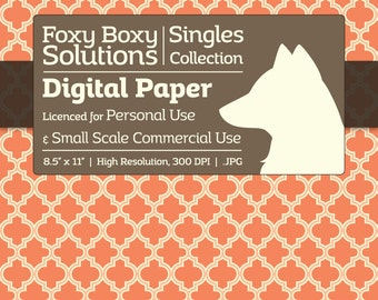 Moroccan Digital Paper - Single Sheet in Orange - Printable Scrapbooking Paper