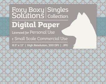Fancy Moroccan Pattern Digital Paper - Single Sheet in Blue, Gray, & White - Printable Scrapbooking Paper