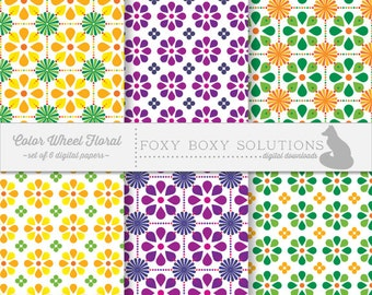 Colorful Floral Digital Paper Pack - Instant Download Printable Paper - Craft Supply for Scrapbooking - Digital Download Printables