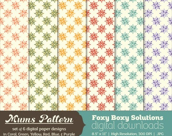 Mums Digital Paper Pack: set of 6 digital papers for scrapbooking/card making, instant download