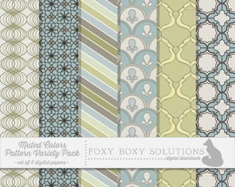 Digital Paper Pastel Patterns Variety Pack - Instant Download Printable Paper - Craft Supply for Scrapbooking - Digital Download Printables