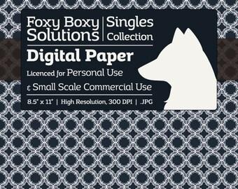 Moroccan Pattern Digital Paper - Single Sheet in Dark Blue, Desaturated Violet, & White - Printable Scrapbooking Paper