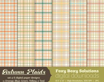 Autumn Plaid Digital Paper Pack: set of 6 digital papers in Orange, Blue, Green, Yellow, and Teal  Instant Download