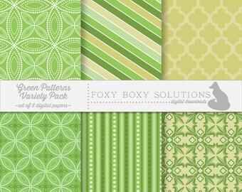 Green Patterns Variety Pack: Digital Papers, set of 6 (Stripes, Circles, Moroccan, Fleur-de-Lis)