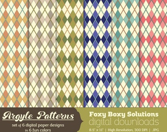 Argyle Patterns Digital Paper Pack: set of 6 digital papers in Orange, Tan, Green, Blue, Pink, and Purple Instant Download