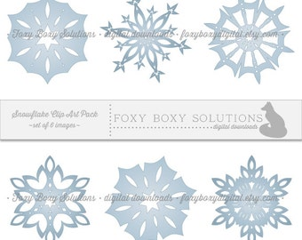 Blue Snowflake Digital Download Winter Clipart - Printable Instant Download for Christmas Scrapbooking - set of 6 Clip Art Images